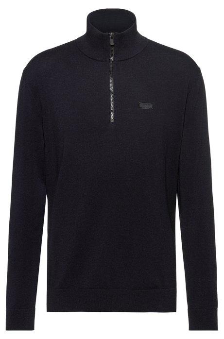 Zip-neck sweater in cotton-blend stretch crepe, Dark Blue