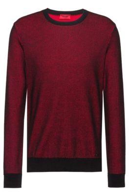 Regular-fit trui met tweekleurige structuur, Rood