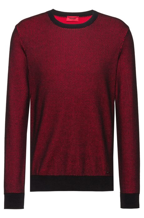 Regular-fit sweater with two-tone structure, Red