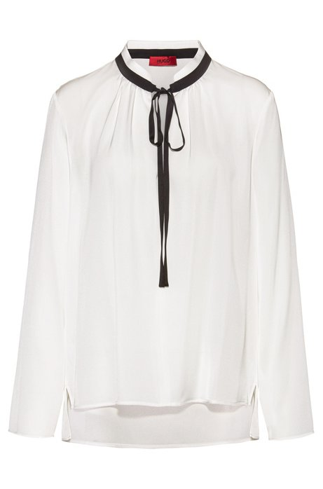 Regular-fit blouse with tie neck in stretch silk, White