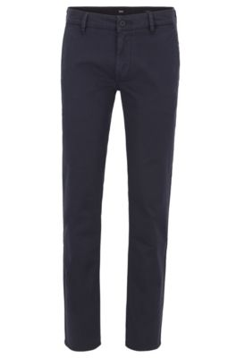 Slim-fit chinos in micro-patterned stretch-cotton twill, Dark Blue