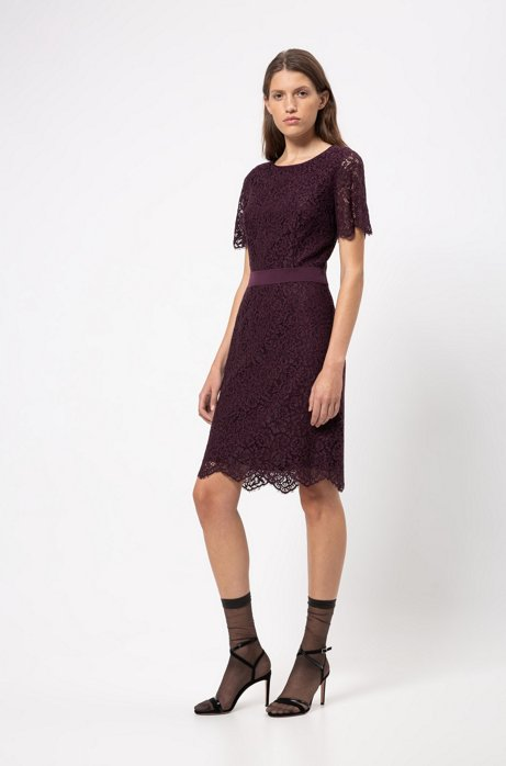 Lace dress with ribbon waistband and concealed zip, Dark Purple