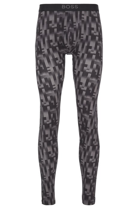 Printed long johns in sustainably produced stretch fabric, Black