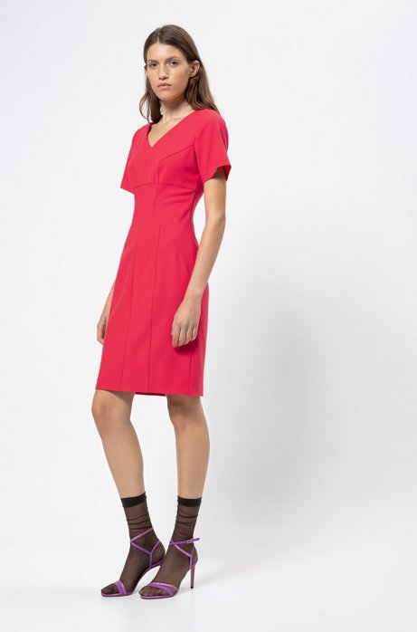 V-neck pencil dress with feature seaming, Red