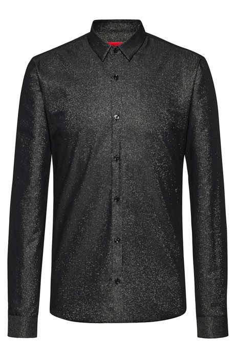 Extra-slim-fit evening shirt in a cotton blend, Black