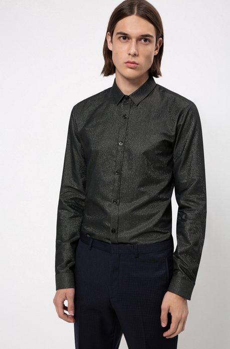 Chemise de soirée Extra Slim Fit en coton mélangé, Noir