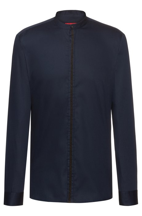 Extra-slim-fit shirt with tape-trimmed placket, Dark Blue