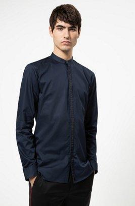 Camicia extra slim fit con nastro decorativo sulla chiusura, Blu scuro