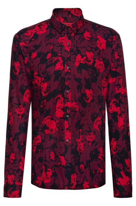 Extra-slim-fit shirt in floral-print cotton, Patterned