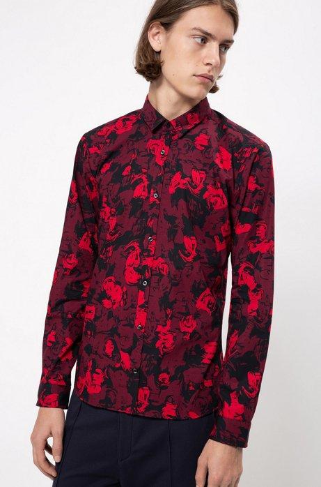 Chemise Extra Slim Fit en coton à imprimé floral, Fantaisie