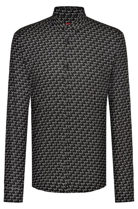 Extra-slim-fit shirt with reversed handwritten logo motif, Patterned