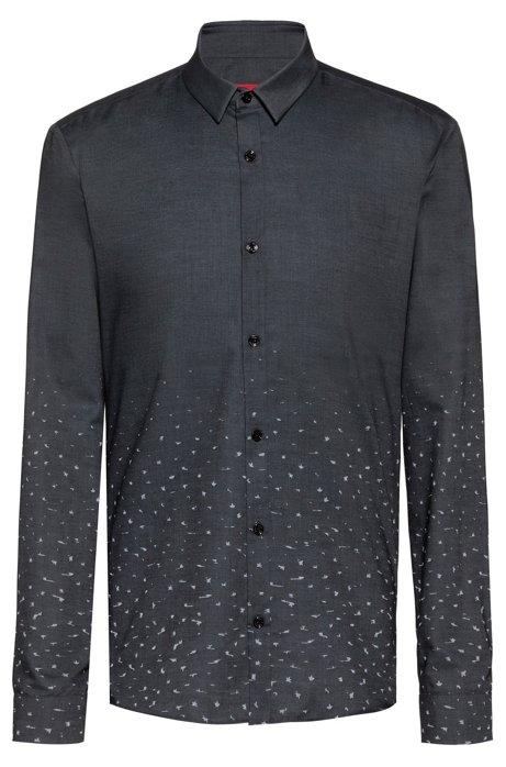 Extra slim-fit overhemd van katoen met sterrendessin in dégradé, Donkergrijs