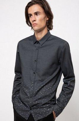 Extra Slim-Fit Hemd aus Baumwolle mit Stardust-Print, Dunkelgrau