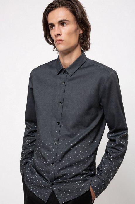 Chemise Extra Slim Fit en coton à motif stardust en dégradé, Gris sombre