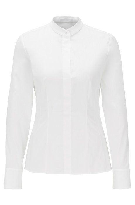 Slim-fit blouse in stretch poplin with stand collar, White