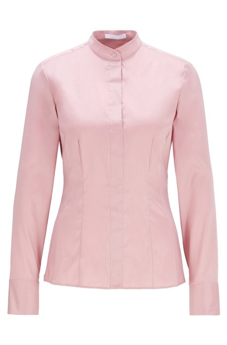 Slim-fit blouse in stretch poplin with stand collar, light pink