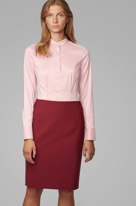 Chemisier Slim Fit en popeline de coton stretch à col officier, Rose clair