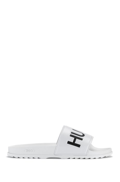 Italian-made slides with contrast logo, White