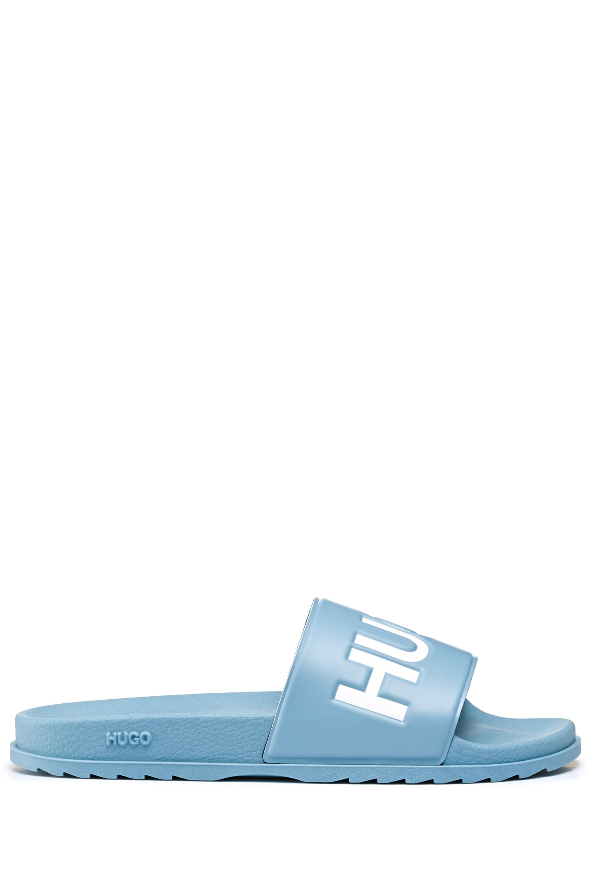 Italian-made slides with contrast logo, Blue