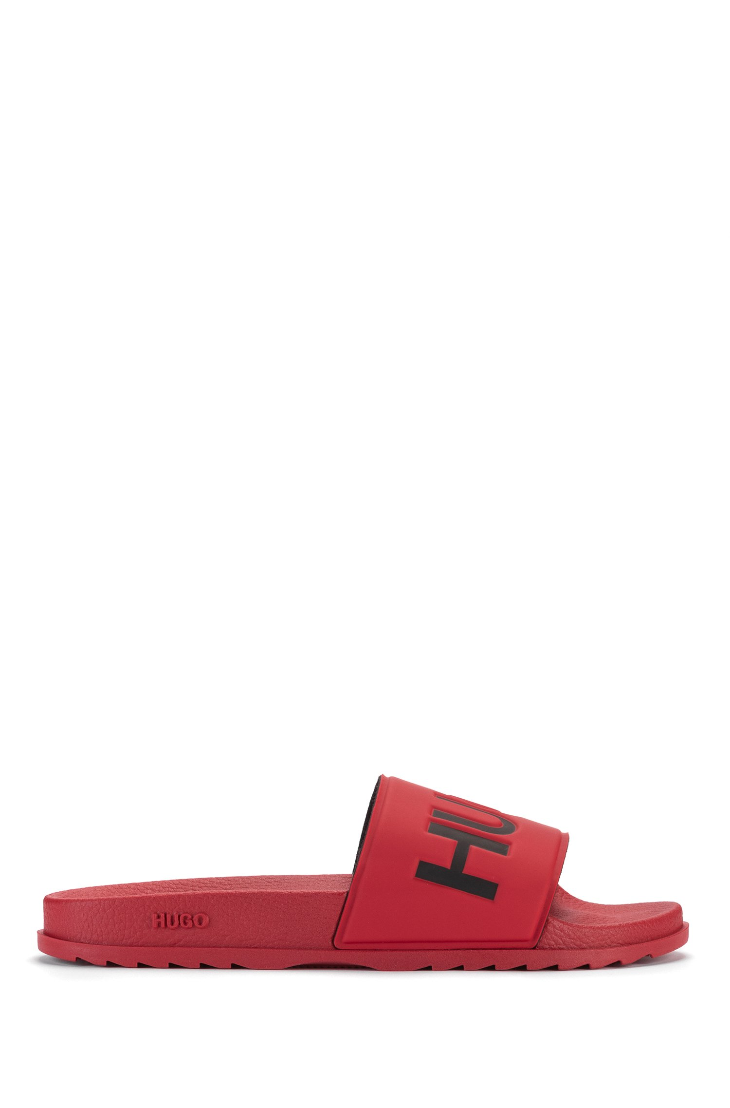 Italian-made slides with contrast logo, Dark Red