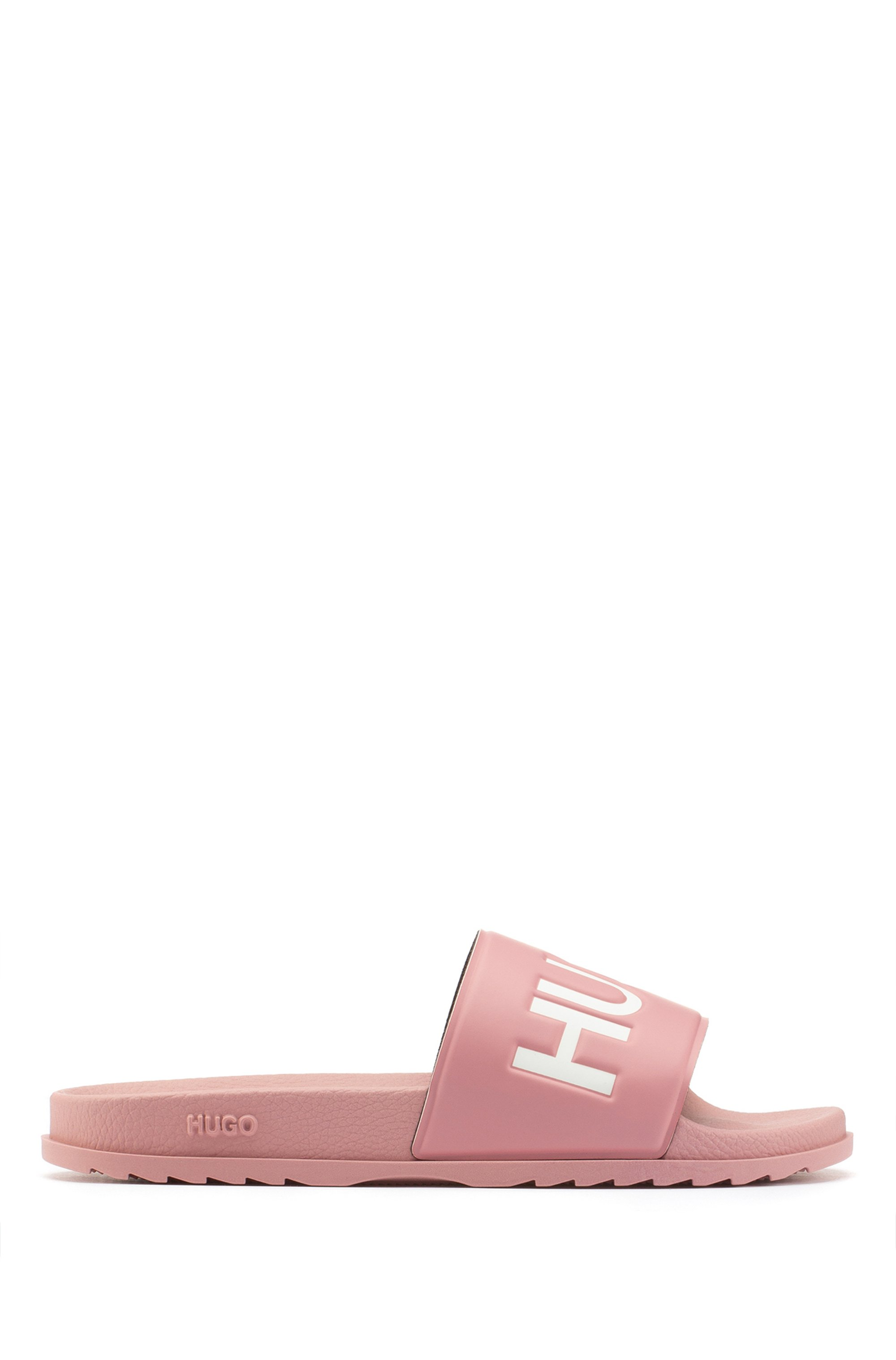 Italian-made slides with contrast logo, Dark pink
