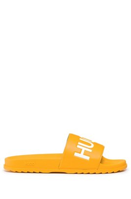 Italian-made slides with contrast logo, Yellow