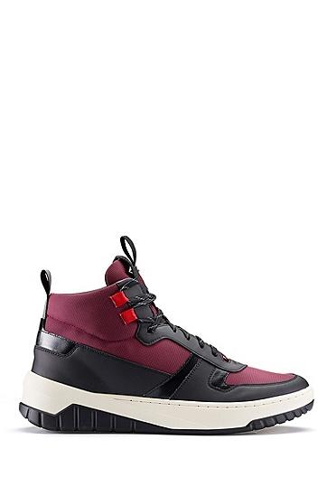 男士胶化饰边高帮运动鞋,  640_淡红色