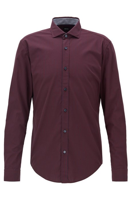Slim-fit shirt in organic cotton with Vichy check, Dark Red