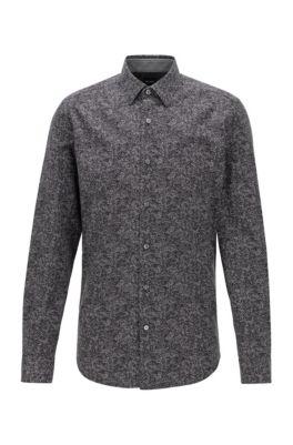 Regular-fit shirt in a printed cotton blend, Black