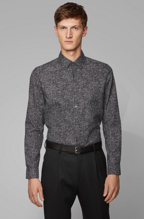Regular-fit shirt in a printed cotton blend, Black