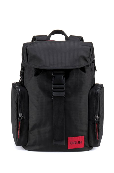 Reverse-logo backpack in ripstop fabric, Black