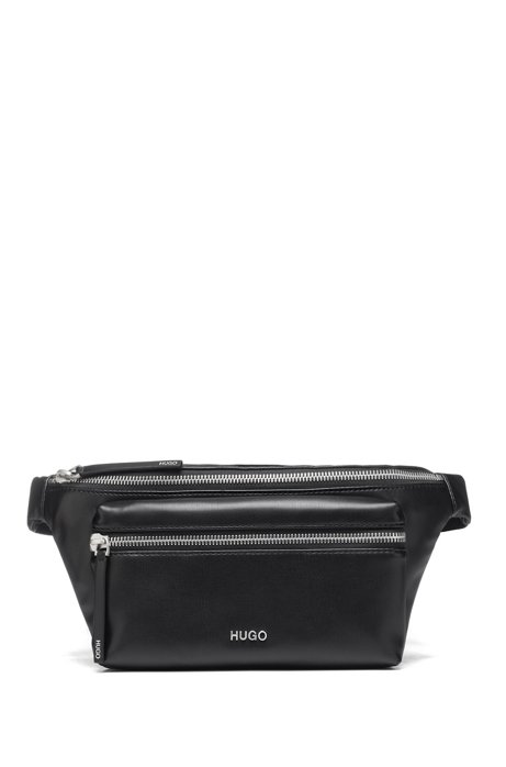 Belt bag in faux leather with logo hardware, Black