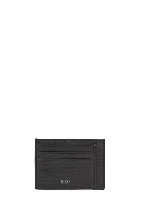 Card holder in monogram-printed and embossed Italian leather, Black