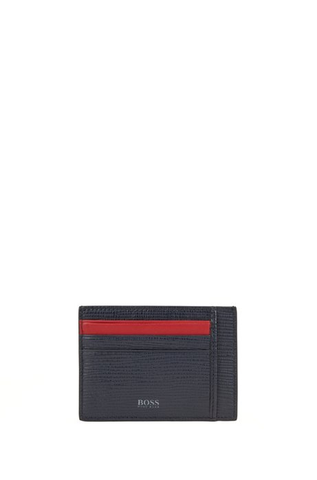 Card holder in monogram-printed and embossed Italian leather, Dark Blue