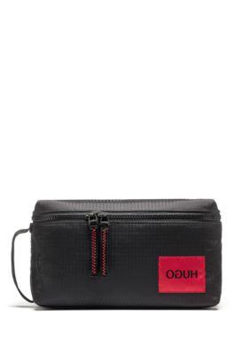Reverse-logo washbag in ripstop fabric, Black