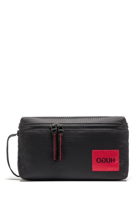 Reverse-logo washbag in ripstop fabric, Black
