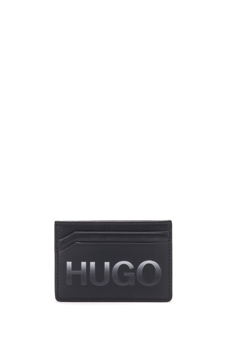 Matte-leather card holder with graduated logo, Black