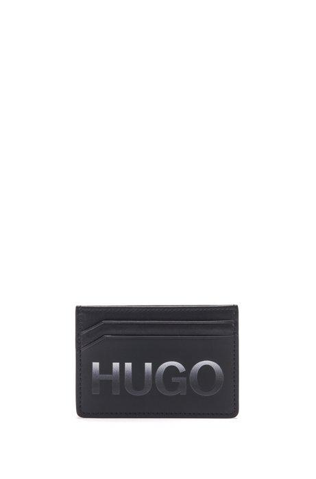 Kartenetui aus mattem Leder mit Logo mit Farbverlauf, Schwarz