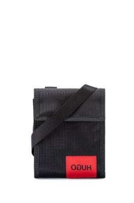 Pouch van ripstopmateriaal met gespiegeld logo, Zwart