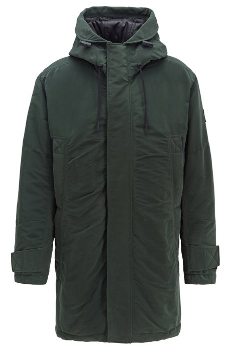 Relaxed-fit jacket in waxed fabric with PrimaLoft® filling, Green
