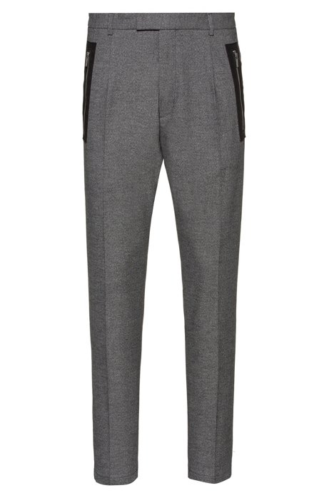 Slim-fit trousers with tape-trimmed zipped pockets, Anthracite