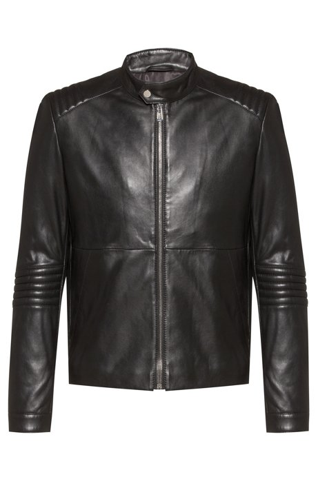 Slim-fit jacket in nappa leather with 3D detailing, Black