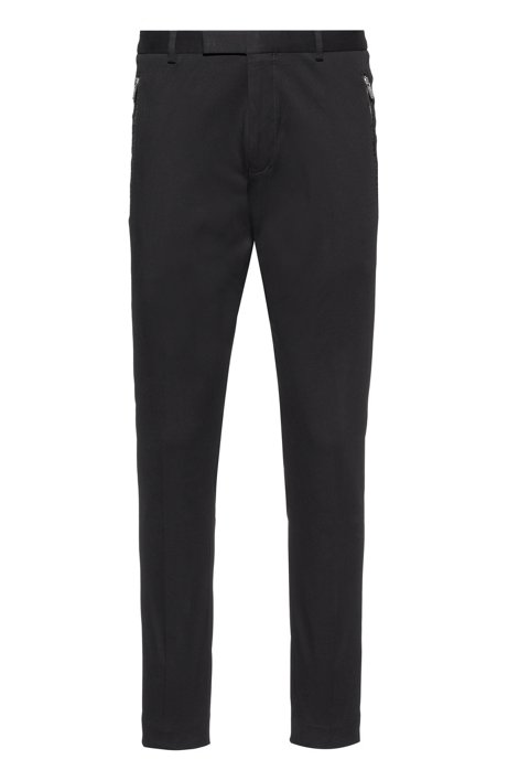 Slim-fit trousers in stretch gabardine with zipped pockets, Black