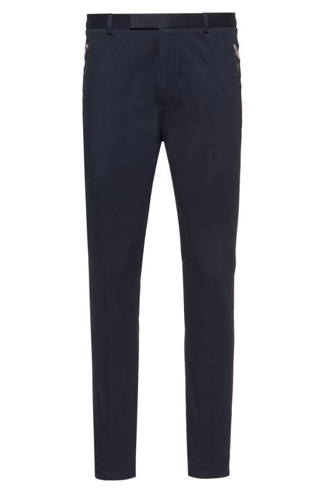 Slim-fit trousers in stretch gabardine with zipped pockets, Dark Blue