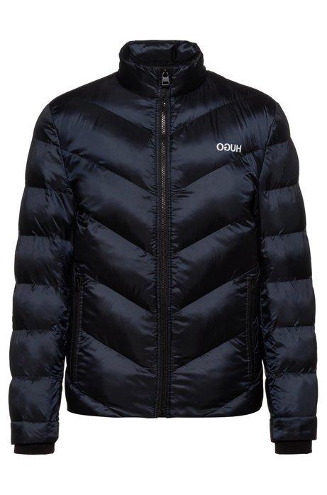 Regular-fit down jacket with recycled filling, Dark Blue
