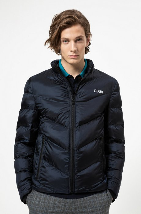 Regular-fit jacket with recycled filling, Dark Blue