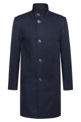 Extra Slim-Fit Mantel aus wasserabweisender Baumwolle, Dunkelblau