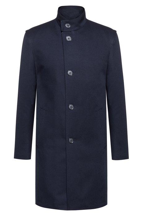 Manteau Extra Slim Fit en coton déperlant, Bleu foncé