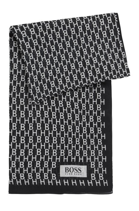 Cotton-blend scarf with patched collection prints, Black