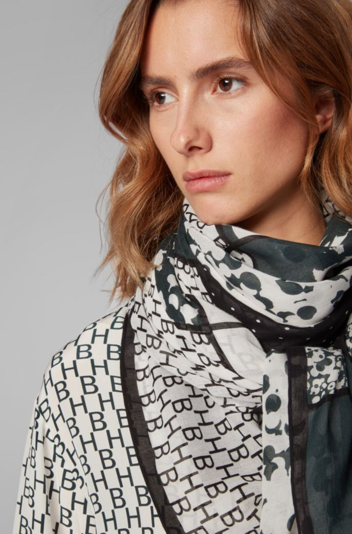 Cotton-blend scarf with patched collection prints